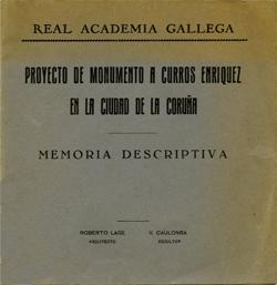 Cuberta para Proyecto de monumento a Curros Enríquez en la ciudad de La Coruña: memoria descriptiva