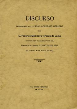 Cuberta para Discurso pronunciado en la Real Academia Gallega por D. Federico Maciñeira y Pardo de Lama