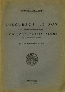Cuberta para Discursos leídos en la recepción pública del señor D. José García Acuña