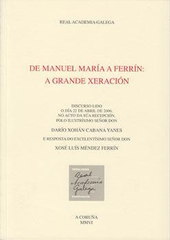 Cuberta para De Manuel María a Ferrín: a grande xeración