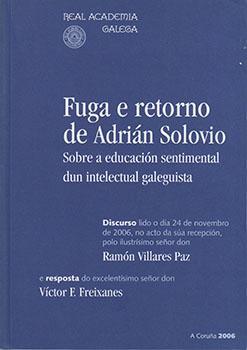 Cuberta para Fuga e retorno de Adrián Solovio: sobre a educación sentimental dun intelectual galeguista