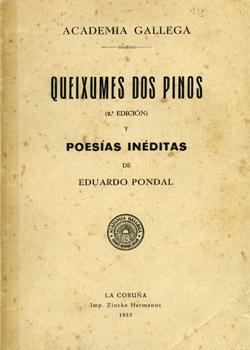 Cuberta para Queixumes dos pinos y poesías inéditas de Eduardo Pondal