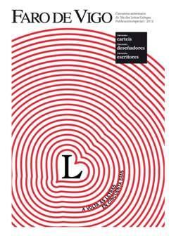 Cuberta para Cincuenta aniversario do Día das Letras Galegas: cincuenta carteis, cincuenta deseñadores, cincuenta escritores : a volta ás letras en cincuenta días