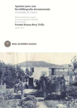 Cuberta para Apuntes para una bio-bibliografía documentada de Rosalía de Castro: memoria final descriptiva de la investigación realizada por el becario Fermín Bouza-Brey Trillo 1970-1971