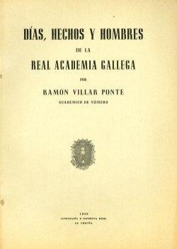 Cuberta para Días, hechos y hombres de la Real Academia Gallega