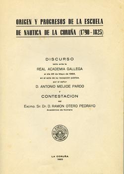 Cuberta para Origen y progresos de la Escuela de Náutica de La Coruña