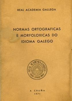 Cuberta para Normas ortográficas e morfolóxicas do idioma galego