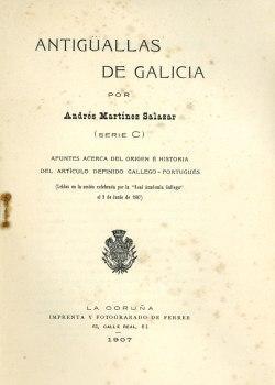 Cuberta para Antiguallas de Galicia: apuntes acerca del origen e historia del artículo definido gallego-portugués