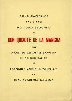 Cuberta para Dous capítulos XXV e XXVI do tomo segundo do Don Quixote de la Mancha por Miguel de Cervantes Saavedra