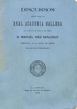 Cuberta para Discursos leídos ante la Real Academia Gallega en la recepción pública del señor D. Manuel Díez Sanjurjo